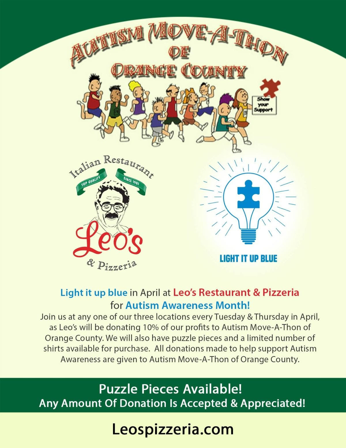 Light It Up Blue In April At Leo's Italian Restaurant & Pizzeria For Austim Awareness Month