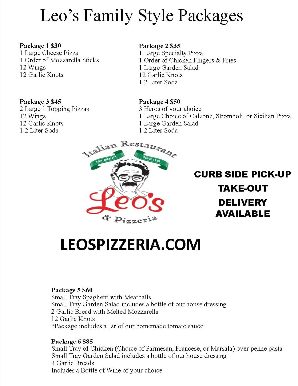 Leo's Family Packages!